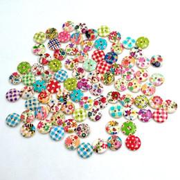 Wholesale 1000 multicolore trous Boutons de couture en bois Scrapbooking Knopf Bouton botones Bricolage coloré Artisanat de couture en bois Scrapbooking Nouveau TY1445