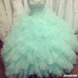 Wholesale custom cheap Mint masquerade quinceanera ball gowns beaded sweet sixteen dresses Crystal tulle vestidos debutante gowns prom dresses