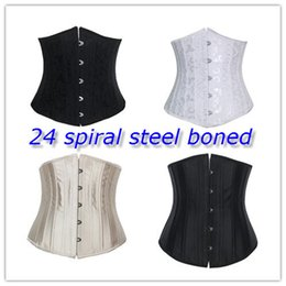 Wholesale 24 Steel Bone Waist Cincher Trainer Waist Training Corsets Body Shaper Underbust Corset Plus Size Waist Cincher Black White Khaki