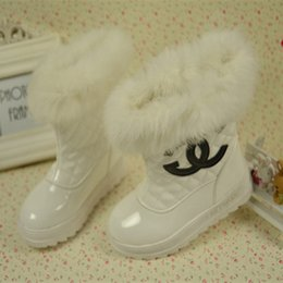 Wholesale 2014 Winter Hot Fashion Children Girl Thick Plaid Fur Snow Boots Child Leather Warm Grid Boots Kids Soft Shoes Black White Red Rose Red