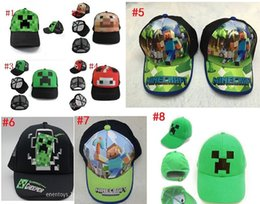 Wholesale 10pcs styles Minecraft ball cap JJ Monster Creeper Caps Hats Baseball Caps Adjustable Hat boy cartoon Hats