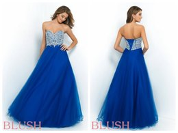 Wholesale Blush Ball Gown Prom Pageant Dresses Tulle Peacock Sweetheart Neckine Sleeveless Beaded Lace Up Back Evening Gowns Floor Length