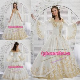 Wholesale 2015 Vintage Detachable Sleeves Quinceanera Dresses White and Gold Strapless Long Sleeves Corset Bodice Embroideries Ball Gown Prom Dresses