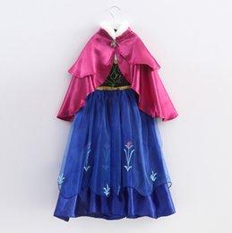 Wholesale 2014 Enfants fille robe de style européen et américain Princesse Anna vêtements Frozen Costume robe de costume avec la cape rose