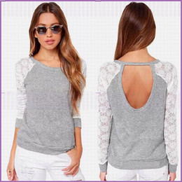 Wholesale Chiffon Blouse Lace Blouse with Long Sleeves Sexy Spring Summer Grey Crochet Jewel Backless Women Clothes Top Blouse Casual Shirts