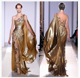 Wholesale 2015 Arabic Dresses Zuhair Murad Haute Couture Appliques Pleated Organza Gold Formal Evening Dresses Sheer Vintage Pageant Prom Gowns