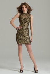 Wholesale 2014 New Prom Party Dresses Sheath High Neck Illusion Back with Center Zipper Short Lace Cocktail Dresses