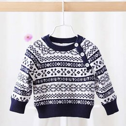 Wholesale Baby Sweaters Children Pullover Korean Boys Girls Flower Pullover Sweaters Winter Crochet Sweater Child Clothes Kids Clothing C16704