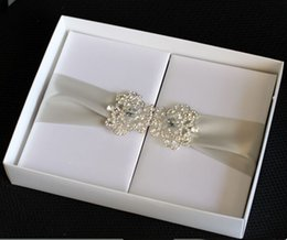 Wholesale white silk box invitation box with embellishment and ribbon paper box for mailing for wedding