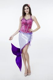 Wholesale Sexy Mermaid Costume Adult Women Sexy Halloween Costume Cosplay Purple Fancy Dress Fairy Tales Female Outfit Costume M Size