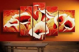 hand painted artwork the lucky red flowers cheap room decoration oil painting on canvas 5pcs set famous art paintings f 847