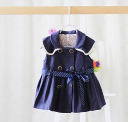 Wholesale 2016 Kids Girls Dress Sleeveless Double breasted Dress Ruffles Vintage Denim Dress Girl Baby Clothes Dress Jumper Tops KB173