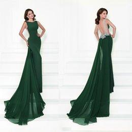 Wholesale 2016 Tarik Ediz Backless Evening Dresses With Detachable Train Mermaid Long Lace Beaded Peplum Chiffon Formal Party Gowns Cheap Online