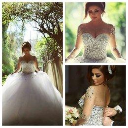 Wholesale 2016 Mariage de luxe Robes perlé Strass Cristaux Belle robe de bal Image réelle Robes de mariée arabe Saïd Mhamad personnalisé Vestidos