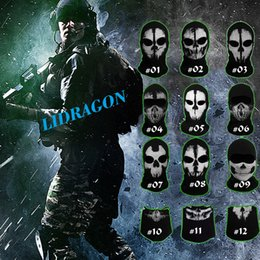 Wholesale Retail Call Of Duty Ghost Masks Skull Balaclava Paintball Outdoor Ski Army WarGame Airsoft Military Tactical Game Hats Full Face Mask