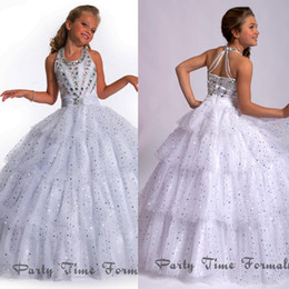 Wholesale 2015 Halter Criss Cross Ball Gown Girls Pageant Dresses Back With Rhinestone Beaded Sequins Sweep Train For Little Girls Gowns