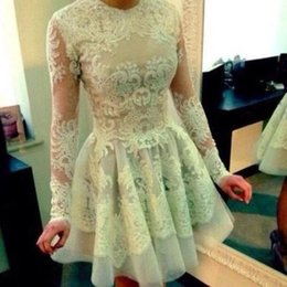 Wholesale 2015 Cheap A Line Tulle Homecoming Dresses Scoop Sheer Long Sleeve Lace Appliques Mini Short Prom Party Cocktail Gowns