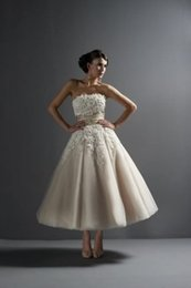 Wholesale 2014 A line Wedding Dresses Strapless Backless Tea length Applique Ribbon Ruffle Sweety Tulle Bridal Gowns YQ