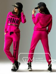 Wholesale Womens Pink colors Fashion Hoodie Sweat suits Letter printed Jogging Suit For Women Clothing Set Tracksuit Sportswear sets