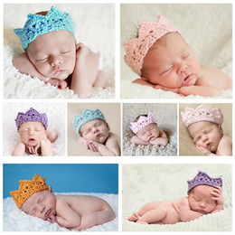 Wholesale 10pcs Newborns Infant Headband Crown Knitting Crochet Costume Soft Adorable Clothes Photography Props Baby Photo Hat Cap