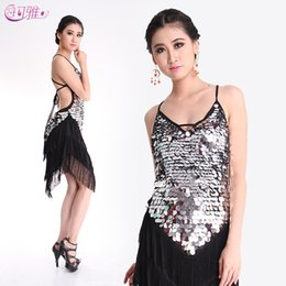 Wholesale 2014 Adult New Fringed Latin Dance Dress Backless Sequined Skirts Latin Stage Wear Show clothing A0313