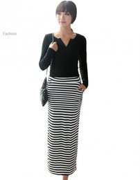 Wholesale Big promotion summer skirts womens long skirt female black and white striped with pockets plus size casual saia longa
