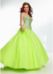 Wholesale 2015 New Arrive Charming Green Quinceanera Dresses With A Line Tulle Beaded Backless Sweetheart Neck Vestidos Hot Sale Sweet Gowns