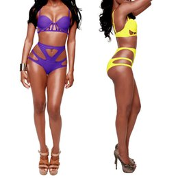 Wholesale Sexy Women Bikini Set Deep V Neck Symmetrical Cut Out Push Up High Waist Swimsuit Purple Yellow Biquini GS002