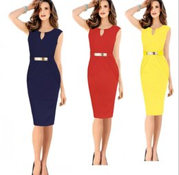 Wholesale 2015 New Women Work Dresses Summer Elegant Ladies Office Casual Bodycon Celebrity Dress Pencil Party Dress Short Prom Dresses OXL141002