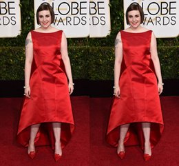 Wholesale Plus Size Red Stain nd Golden Globe Lena Dunham Celebrity Dresses Short Evening Dresses High Quality Ruffle Women Party Prom Dresses