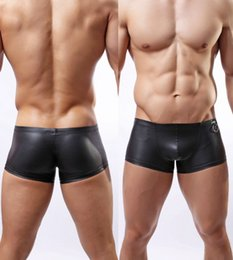 Wholesale Hot Sexy Hommes Maillots de bain Boxer Trunks Marque Gay Penis Pouch Bulge Sous vêtements Latex Cuir Natation Trunk Shorts Sunga Masculina Beach Wear