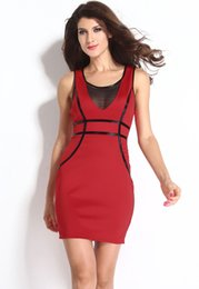 Wholesale New Graceful Formal Dress For Women Beautiful Casual Bodycon Dress With Mesh And Faux Leather Trim Club Wear Mini Dress B5301