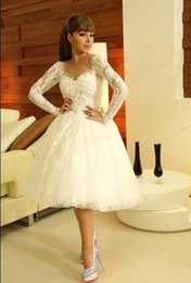 Wholesale Knee Length Wedding Dresses Sweetheart Long Sleeves Appliques Lace Ball Gown Myriam Fares Short Beach Bridal Gowns
