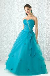 Wholesale 2015 Blue Quinceanera debutante Dress Ball Gown Sweetheart Appliques Pleat Floor length organza Prom sweet ball gowns