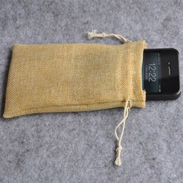 Wholesale Jute Flax Drawstring Bags x15cm quot x6 quot Fashion Jewelry Gift Pouches Rustic Wedding Party Favor holder