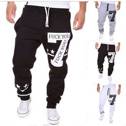 Wholesale Foreign trade explosion models sweatpants FUCK YOU personalized letters printed design casual pants