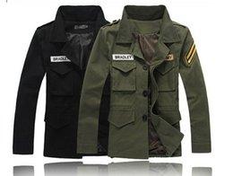 Wholesale Men s Vintage German military style jacket Olive green black military blazer uniform fashion canvas military jacket coat for men
