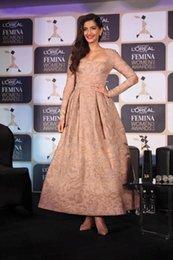 Wholesale Custom Made Square Neck Long Sleeve Formal Evening Dresses Ankle Length Elegant Prom Dress Sonam Kapoor Sexy Celebrity Gowns Vestidos