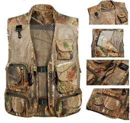 Wholesale MULTI POCKET MESH PHOTOGRAPHY REAL TREE CAMO FISHING VEST OUTDOOR CLIMBING MEN VEST IN SIZES