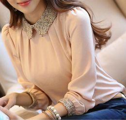 Wholesale S XXL New Fashion Women Long Sleeve Chiffon Blouse Shirt Peter Pan Collar Lantern Sleeve Women Blouse Tops
