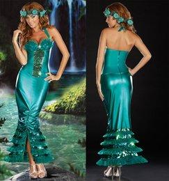 Wholesale Torta de trajes atractivos de la falda de sirena trajes de rol de vestir de Navidad verde ropa de vestir de Halloween