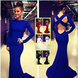 Wholesale In Stock Sexy White Blue Long Sleeve Backless Evening Dresses Stretchy Spandex Lurelly Monaco Sheath Prom Party Celebrity Gowns Cheap