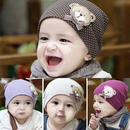 Wholesale Newborn Baby M Infant Girl Girls Boys Polka Dot Bear Caps Winter Warm Crochet Cute Bear Cotton Beanie Hats Candy Color