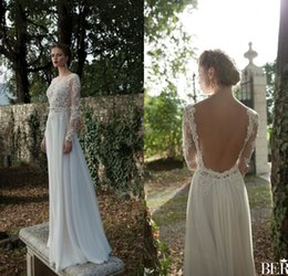 Wholesale Classic Long Sleeves Beach Wedding Dresses Backless Berta Bridal Wedding Gowns Illusion Applique Dubai Vestidos De Novia Plus Size