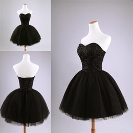 Wholesale Real Pictures Sexy Cheap Homecoming Dresses Black Beads Tulle Sweetheart Sequins Ball Gown Short Party Dresses Mini Cocktail Dresses