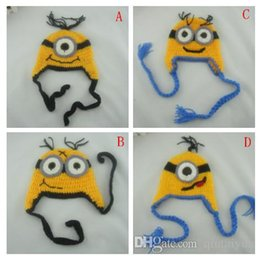 Wholesale 4 Design Despicable me crochet hats NEW Baby cartoon minions Costume Handmade Crochet Knitted Hat Animal Mouse Head Beanie Cap B249