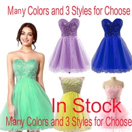 Wholesale In Stock Pink Tulle Mini Crystal Homecoming Dresses Beads Lilac Sky Royal Blue Mint Short Prom Party Graduation Gowns Cheap Real Image