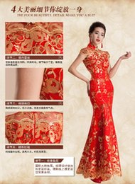Wholesale 2015new latest wedding dress wedding toast cheongsam dress fishtail wedding dress retro long section of red bride