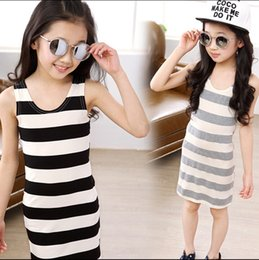 Wholesale 2015 girls striped sundress kids girl stripe sleeveless vest dress jumper skirt baby children simple dresses for girls J050603