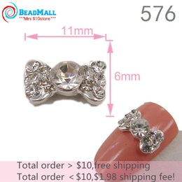 Wholesale Min order New mmNew Design D Alloy Nail Art silver Crystal Bow Tie Charm DIY Gel Nails